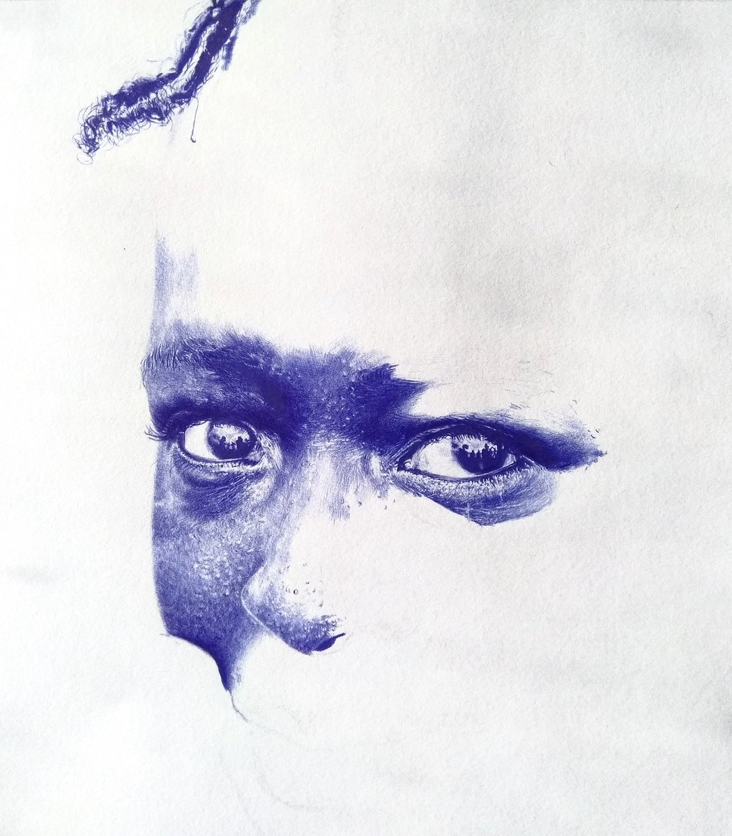 Two drawings on progress, blue pen and colour pens <br>http://pic.twitter.com/BCZlS00ltg