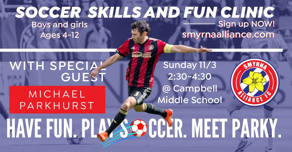 The inaugural rec soccer skills clinic is on! Come see us next Sunday, 11/3 and meet Atlanta's forever captain, Michael Parkhurst! #strongertogether  <br>http://pic.twitter.com/TNfAWxcyeL