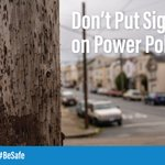 Post your sale online, not on power poles. Nails and staples can tear linemen's gear, which protects them from electric shock. ⚡ #BeSafe
