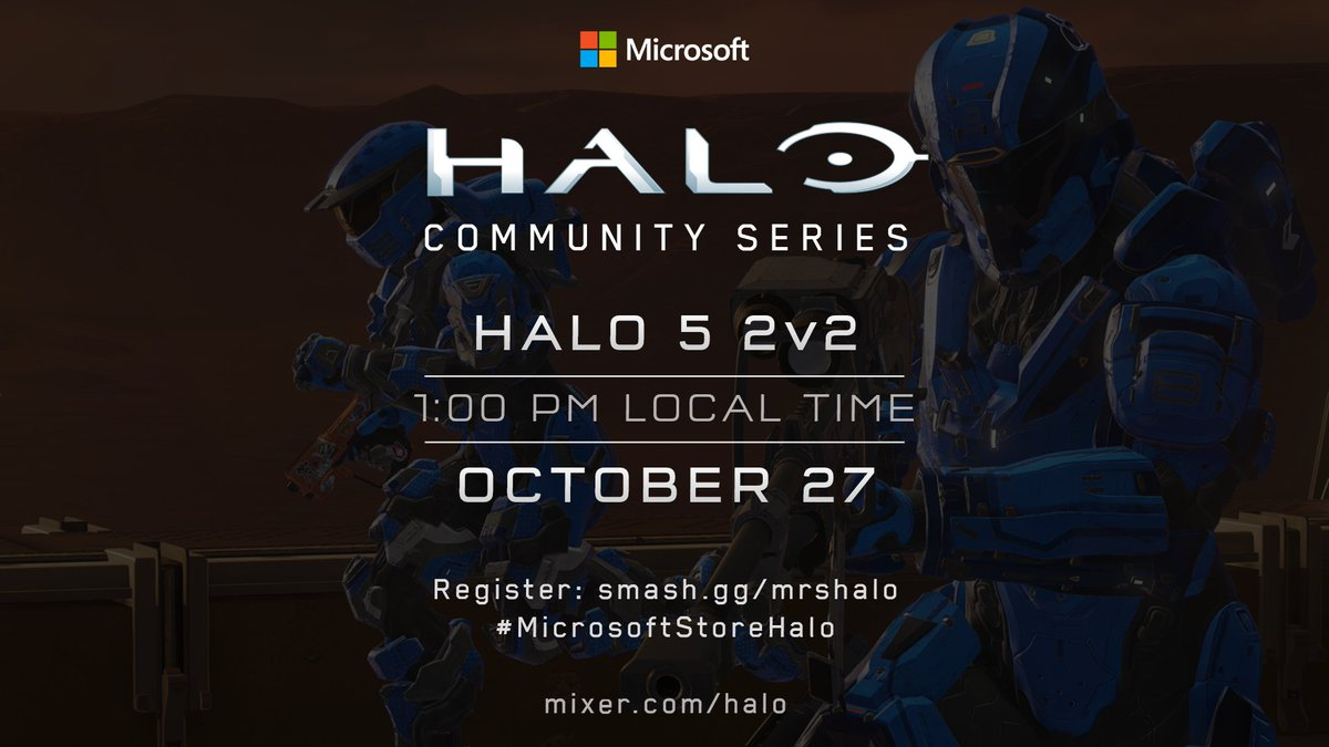 Well be hosting a Halo 5 Doubles tournament at @MicrosoftStore locations around the world this Sunday, October 27, on Halo 5s birthday. Play for free and earn a chance to win a trip to #X019! smash.gg/MRS-X019