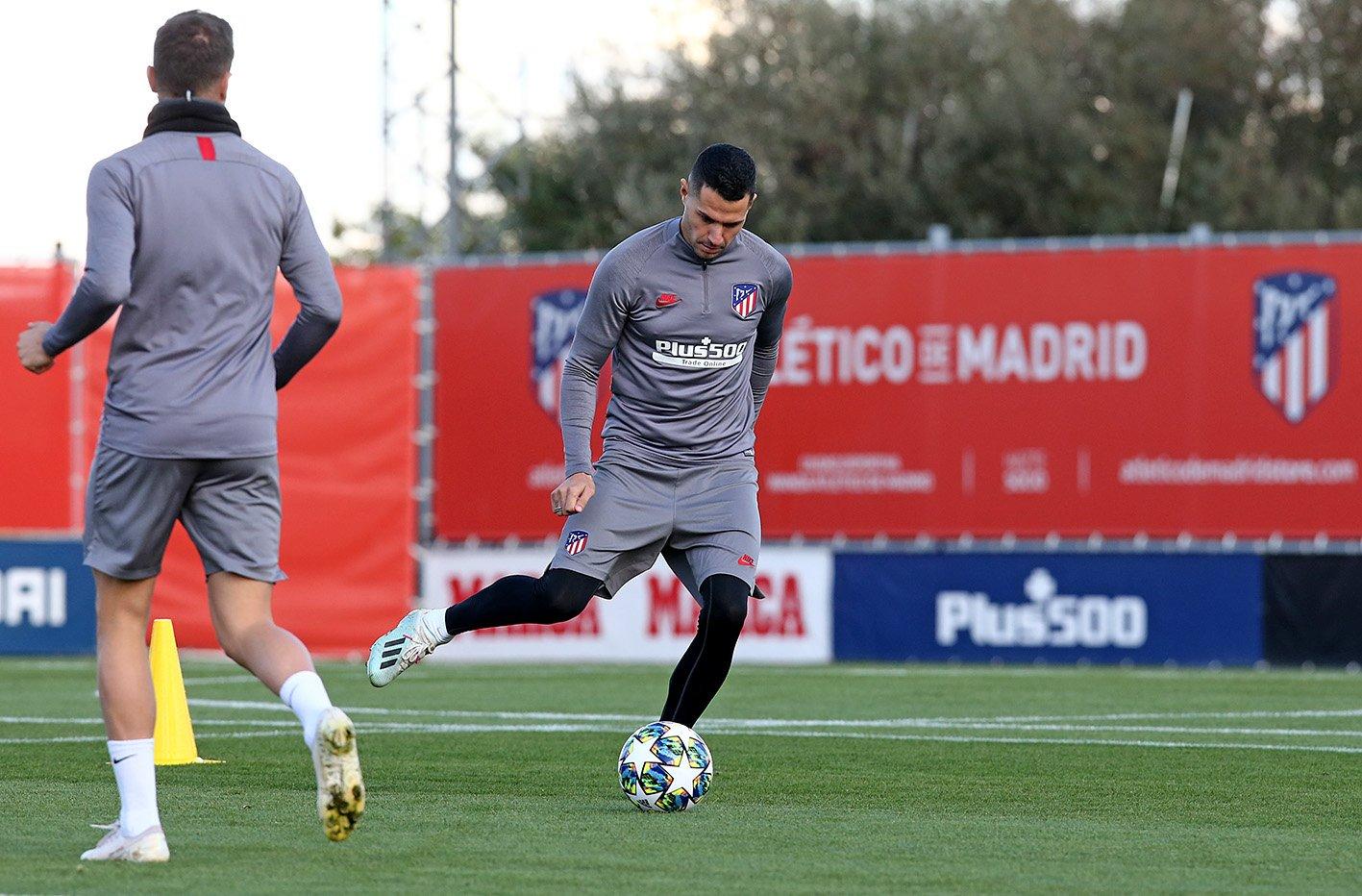 Vitolo, en la sesión de este lunes (Foto: Atlético de Madrid).