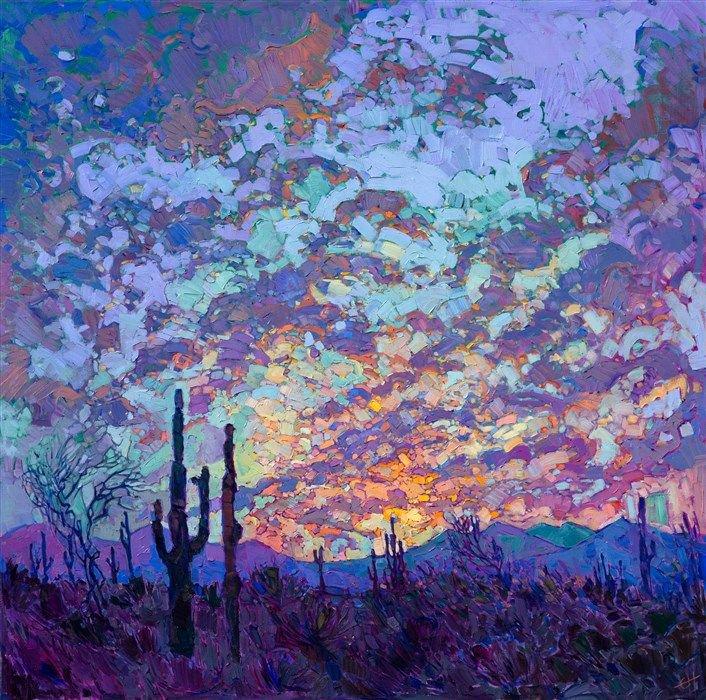 'Saguaro Dusk' by contemporary US Impressionist style painter Erin Hanson #womensart