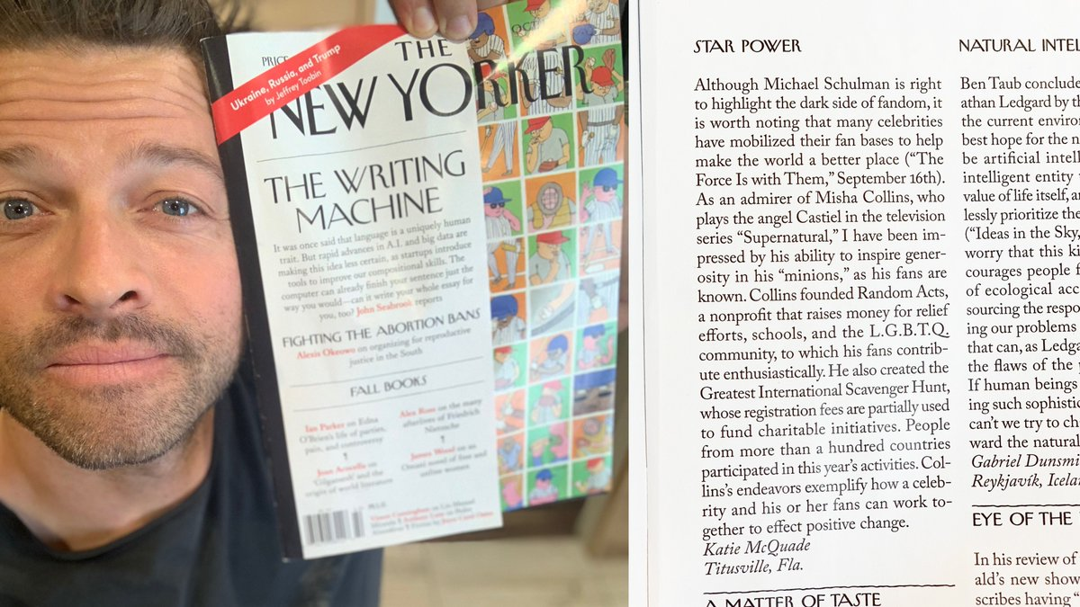 "This is as good a time as any to confess that my nom de plume is ""Katie McQuade."" (Really, this letter in the @NewYorker could be summed up: ""Sure, there's some toxicity in any fandom. But the #SPNFamily has also proven to be a force for good in the world.)"