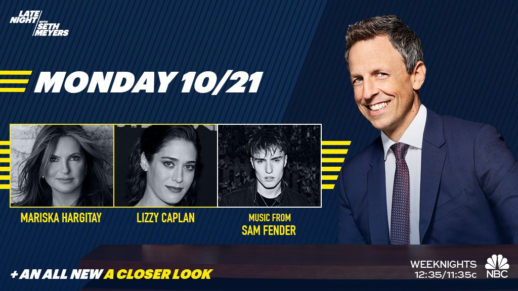 Tonight on a brand new #LNSM: @SethMeyers welcomes @mariska, Lizzy Caplan and musical guest @samfendermusic!
