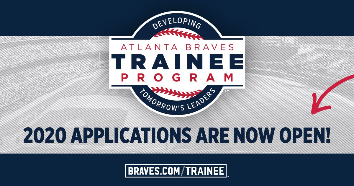 Interested in a career in sports?⚾️ Recent college grad? 🎓 Check out the #Braves Trainee Program! Applications for 2020 are now open at: ➡️ Braves.com/trainee