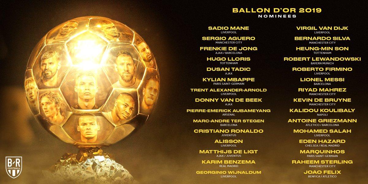 Los 30 Jugadores Nominados al Balón de Oro 2019