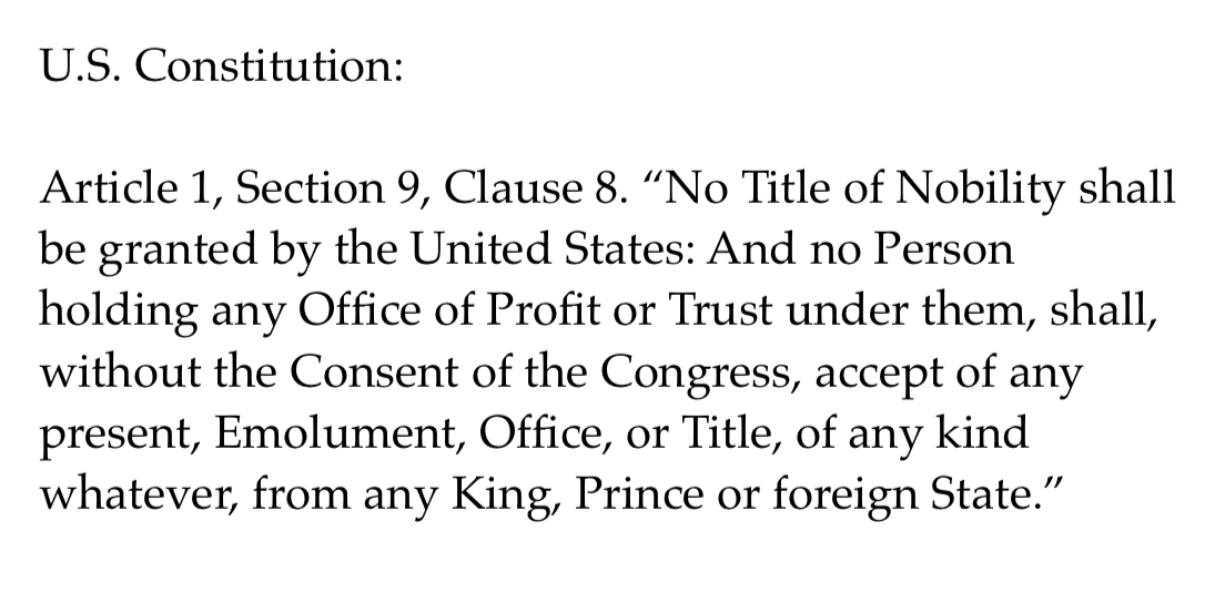 Donald Trump this morning: I dont think you people with this phony Emoluments clause ... #Impeachment #ImpeachTrumpPenceBarr #ImpeachAndRemove