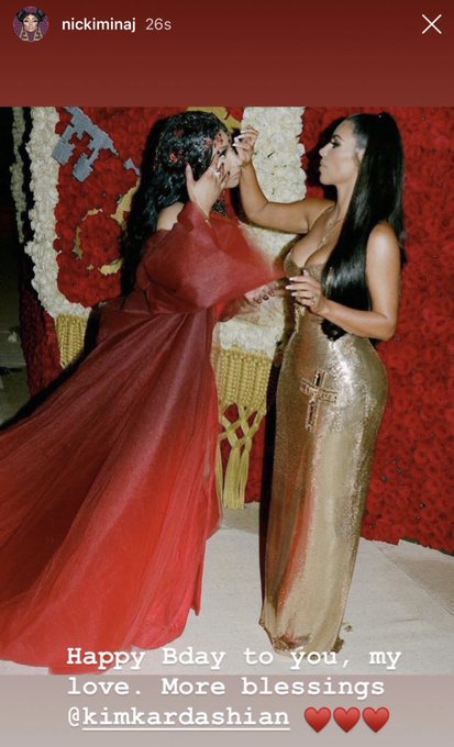 Nicki Minaj wishes Kim Kardashian a Happy Birthday via Instagram Story!