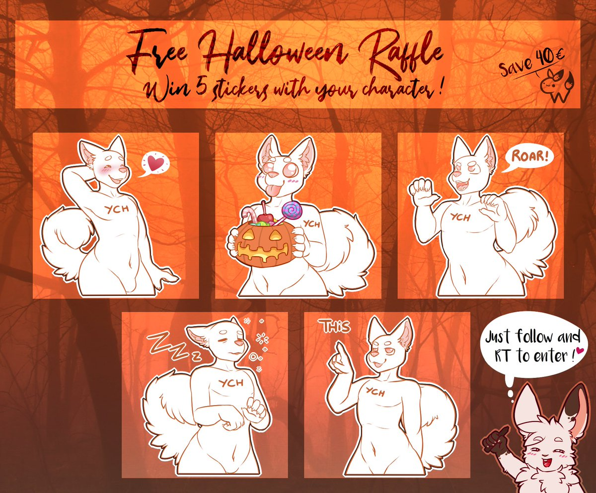 #Halloween #FreeRaffle is here ! Win those 5 stickers with your character !   End the 31/10/19 at midnight    Rules bellow   #furry #furryart #free #art #raffle #telegram #stickers<br>http://pic.twitter.com/WT3XxxxE5m
