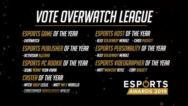 No matter which team you support, your passion during moments like these are why we are all PROUD to represent @OverwatchLeague and YOU in the @esportsawards Vote 🗳️: esportsawards.com/provote/