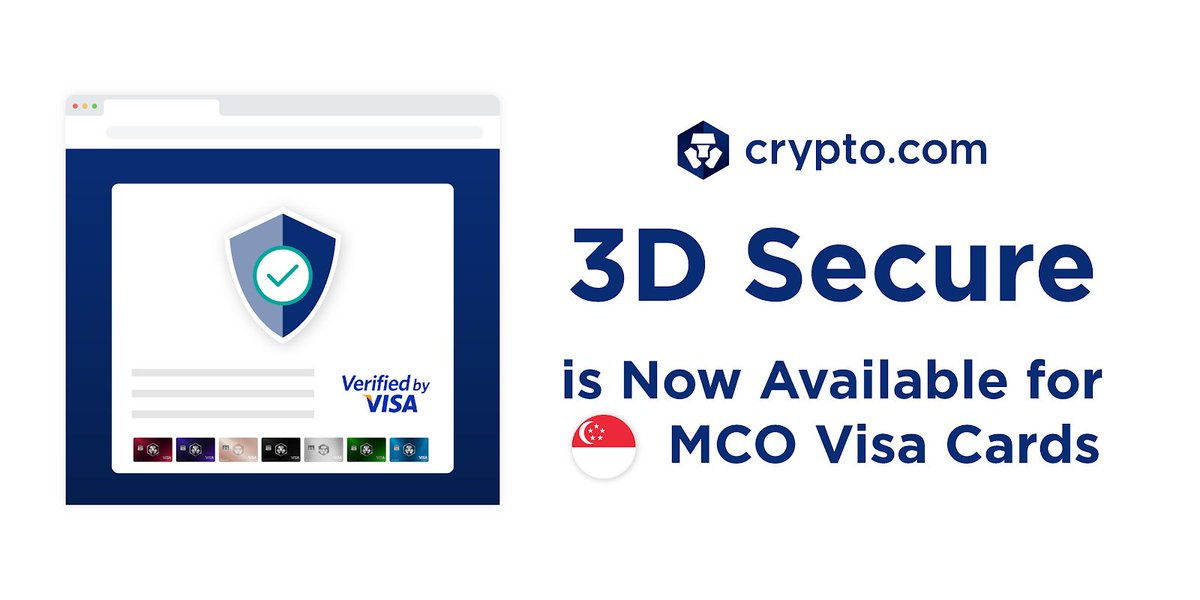 3D Secure is now available for Singapore MCO Visa Cards! Purchases made online are secured and further protected! More details here  https:// blog.crypto.com/crypto-com-int roduces-3d-secure-to-singapore-mco-visa-cards/  … <br>http://pic.twitter.com/6LytnU2iNo