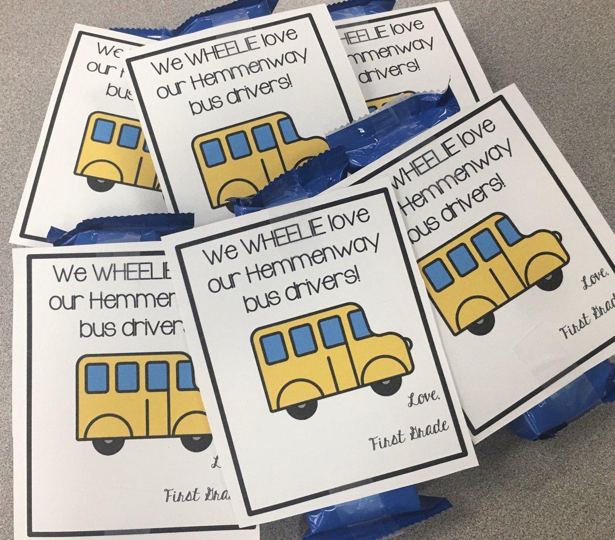 First grade WHEELIE loves our bus drivers! ❤️ #CFISDspirit #hemmenwayallin #busdriverappreciationweek