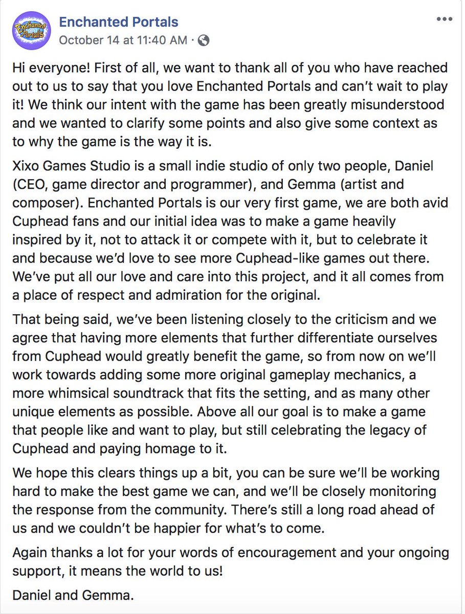 Whether or not Enchanted Portals turns out to be a good game, I will at least give credit to the developers for listening to criticism and will add unique gameplay mechanics to make the game more original after being compared a ripoff to Cuphead. Not something you see everyday.