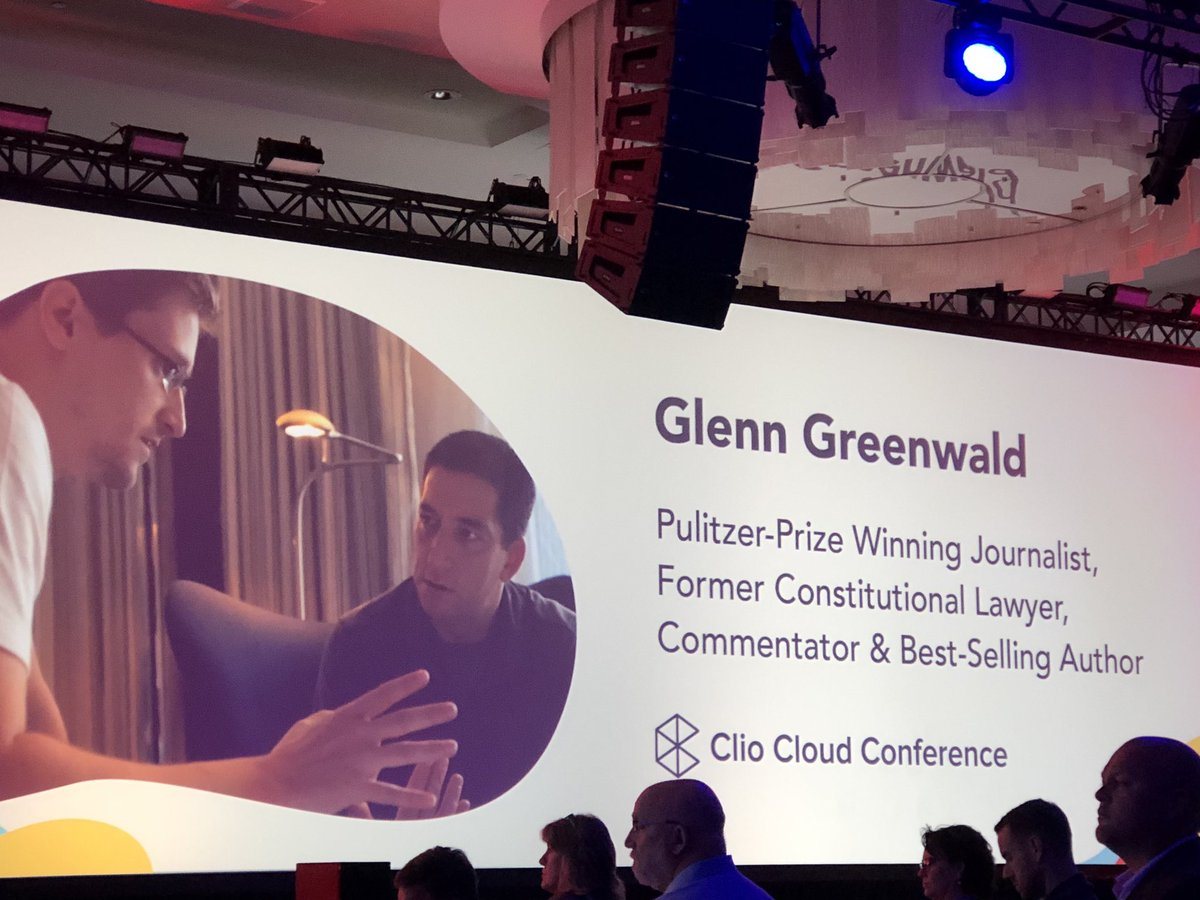 1st day closing keynote by @ggreenwald has #ClioCloud9 crowd riveted by story of Snowden. Message that we must demand that our society get back to presumption of transparency by government officials and the privilege of privacy citizens are owed.