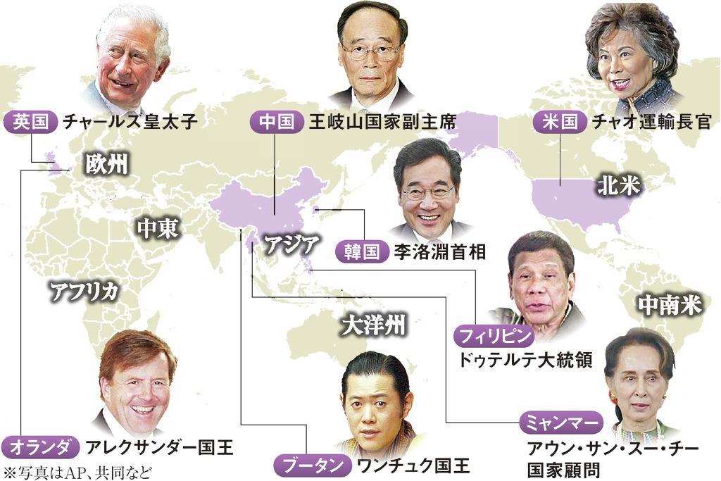 即位礼正殿の儀参列予定の国・機関と出席者 外務省発表、21日時点日本政府は「即位礼正殿の儀」に194カ国を招待。うち21日時点で183カ国が出席と回答。最終的に参列国の代表は増える可能性。200近い国・機関のVIPが同時期に来日、規模としては過去最大になるとみられる