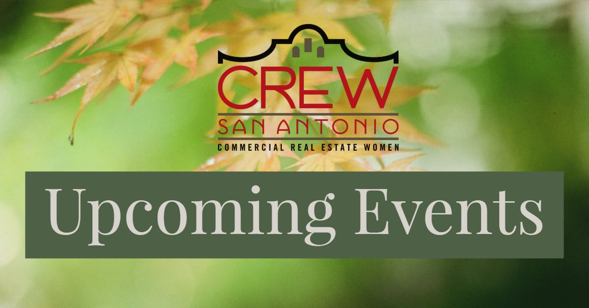 Check Out Upcoming CREW Events-Membership Mixer, November Luncheon, & The Soto Tour. Registration Now Open! #crewsa #crewsanantonio #crewwomen #smartcity #cre #commercialrealestate #luncheon #crewevents #thinkcrewfirst #thesoto #sanantonio https://conta.cc/2W1glHc pic.twitter.com/1vWlPrvRnY