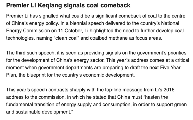 One of the biggest climate relevant announcements that barely anyone has paid attention to.  10 days ago Chinese Premier Li Keqiang gave his biennial speech to China's National Energy Commission. He gave all the signals to further develop coal and coal power technologies. <br>http://pic.twitter.com/d0NzRzEieV