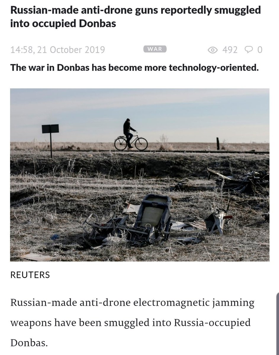 Something to keep an eye on.. Reports surface that Russian made anti drone electromagnetic jamming weapons have been smuggled into Russia occupied Donbas.