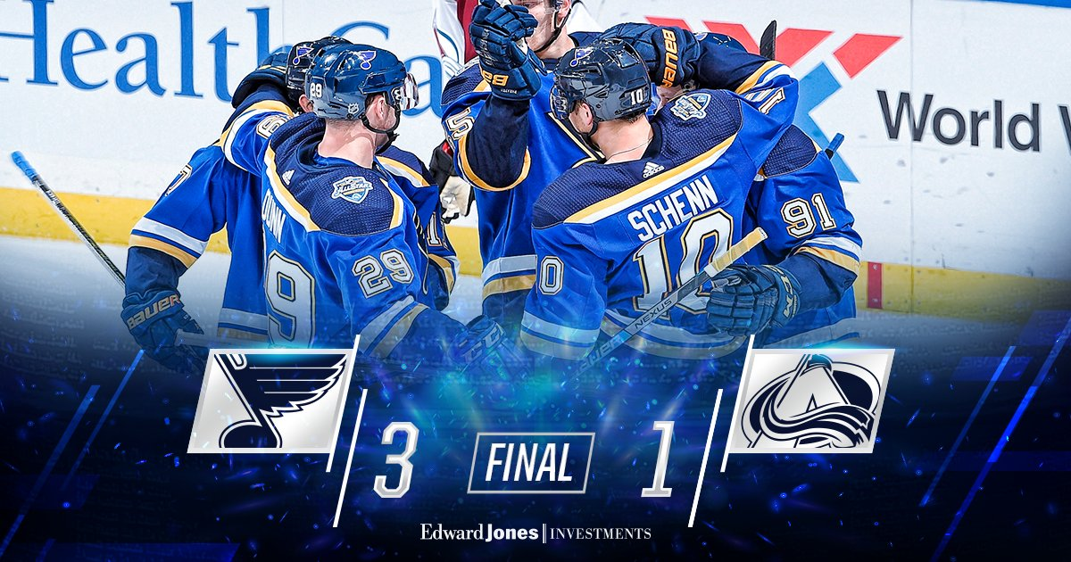 BLUES WIN!!! The #stlblues get the two points and hand the Avs their first regulation loss of the season!