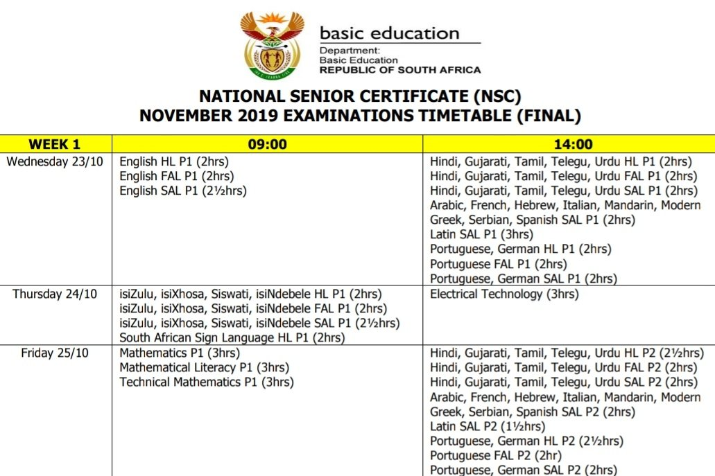 Good morning! It's week 1 of the #NSCExams2019 and all candidates will sit for the first major paper tomorrow, English 1. Calling on all South Africans to support Grade 12 learners during this time 🙏🏽  Good luck  to all Candidates! @ElijahMhlanga @HubertMweli @SAgovnews @The_NECT https://t.co/1EHxAhMHXj