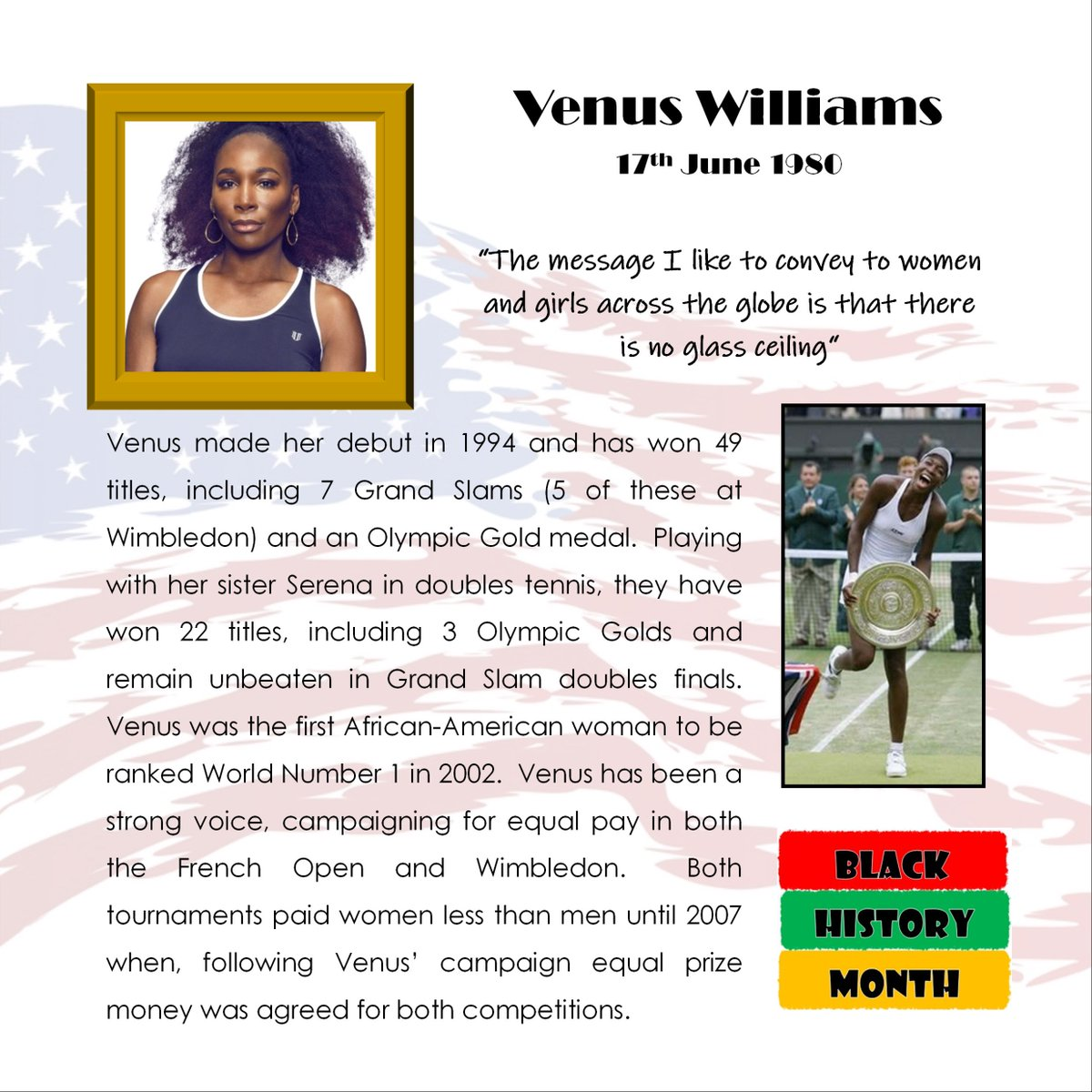Five times #Wimbledon champion @Venuseswilliams is our #blackhistorymonth star for today #blackhistorymonth2019 #BMH2019 #tennis @Wimbledon #Olympic #OlympicGold #GoldMedal #GrandSlam #USOpen #AustralianOpen #FrenchOpen #equalpay #womenrights