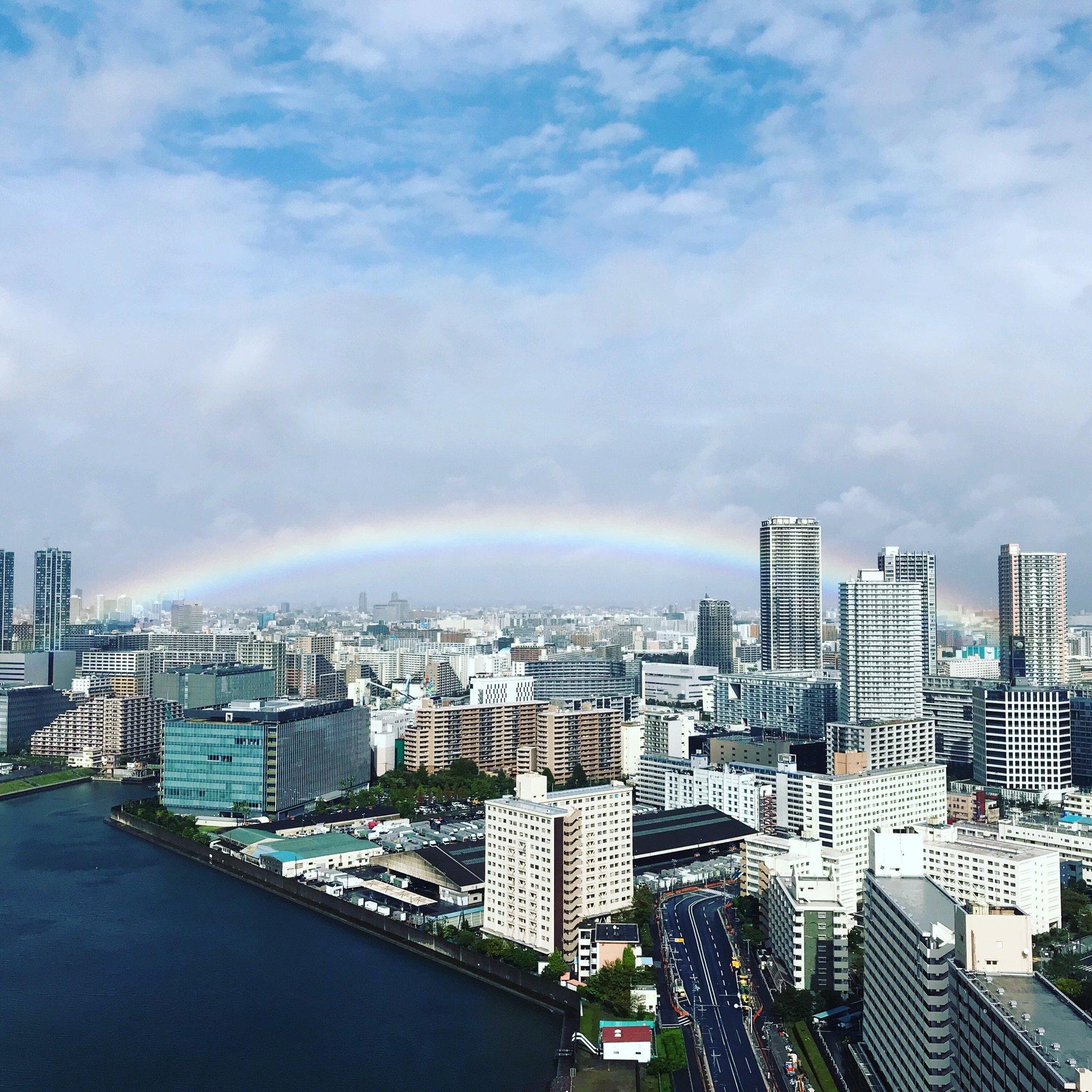 即位礼正殿の儀に合わせたかのように虹の橋が! #即位礼正殿の儀