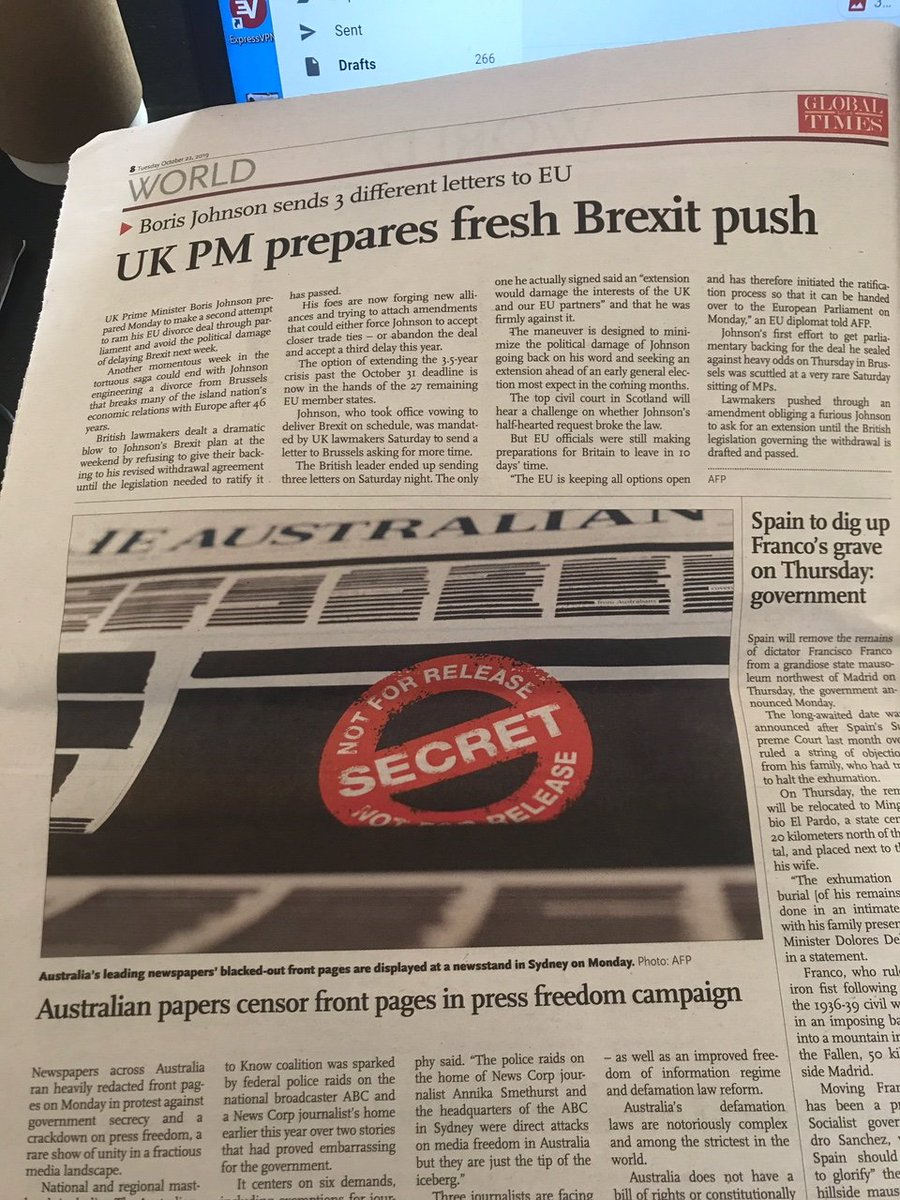 Look at this: Chinas Global Times newspaper has prominently featured the free press campaign being run by Australian media in its World section today...