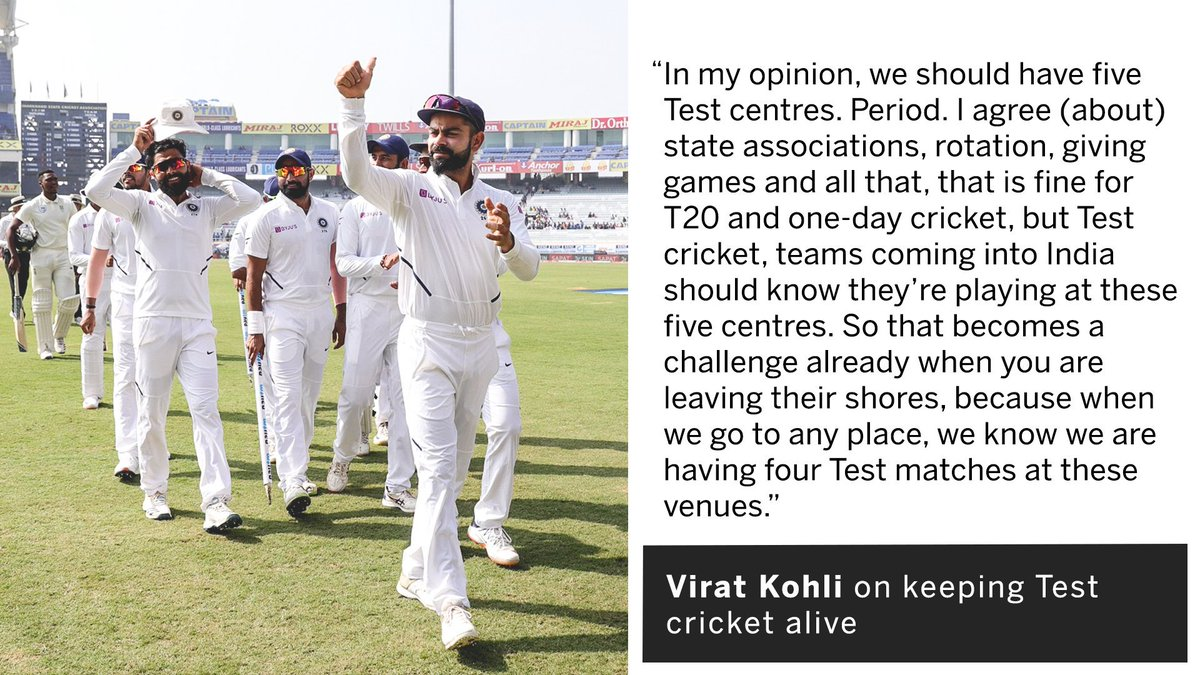 "Five Test centres, full houses   Virat Kohli wants India to do its best to ""keep Test cricket alive""   http:// es.pn/2019INDvSA3      