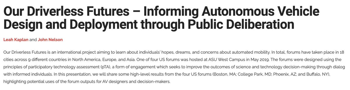 Leah Kaplan and JP Nelson from @ASU_SFIS will share preliminary results from #driverlessmobility forums in Boston, Washington, Phoenix and Buffalo--part of 24 forums convened by @CSPO_ASU in collaboration with @MPubliques as captured in this short video: https://t.co/BYLFeQOFkg https://t.co/aEpDmUUsF5 https://t.co/UUxEUTl8AH