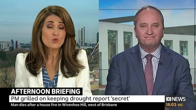 """""""We don't put it on the public record because its a report directly to the PM. Its up to him to print it… I sent reports to him… Dear Scott Morrison, from Barnaby Joyce, with details of the drought - is that a report or is that a report?,"""" @Barnaby_Joyce tells @PatsKarvelas"""