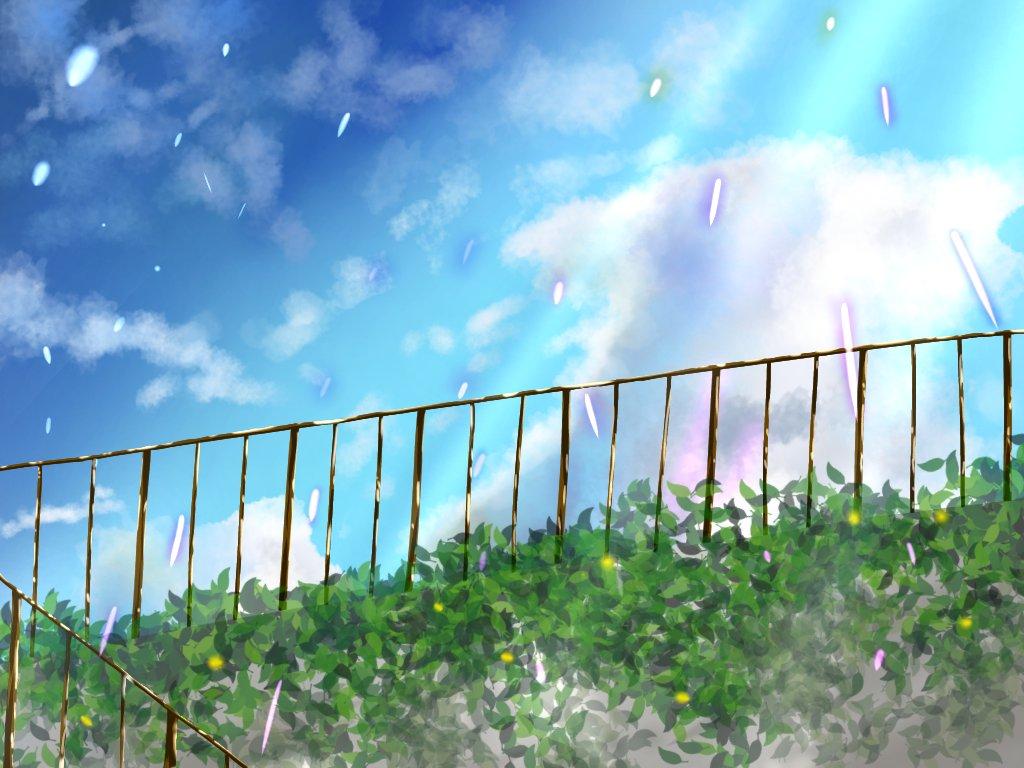 屋上も描いてみました!茂みの部分はアイビスに元からあったブラシを使いました😊