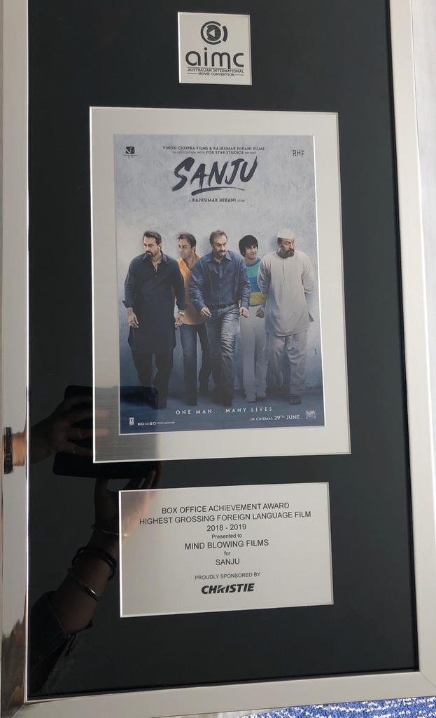 #Sanju wins Highest Grossing Foreign Language Film Award at Australian International Movie Convention #AIMC... #Sanju was competing with #French, #Chinese and other international cinema... Mind Blowing Films have won this prestigious award four times in last ten years. <br>http://pic.twitter.com/IQGMbkkbPJ