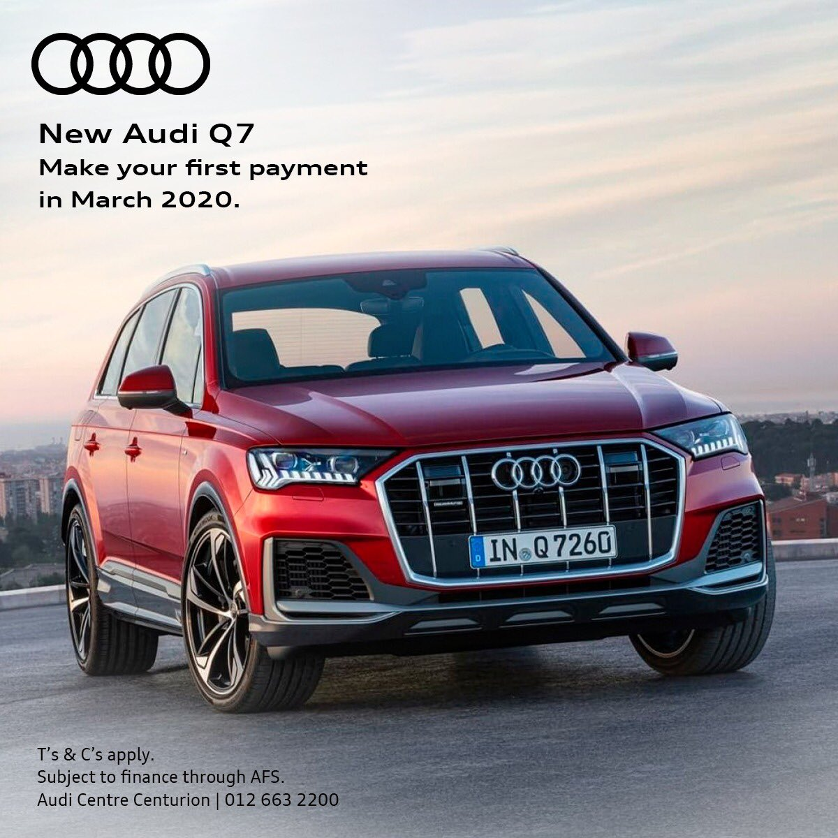 Buy your dream Audi NOW and only pay the first installment in March 2020. T&C's apply. Offer exclusive to Audi Centre Centurion. Call us today on 012 001 1687 for a quote.