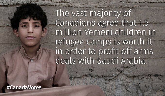Canadians have voted that they are fine with Yemeni blood on their hands. #CanadaElection2019 #YemenWeCare #CanadianElection #CanadaVotes @YemeniJo