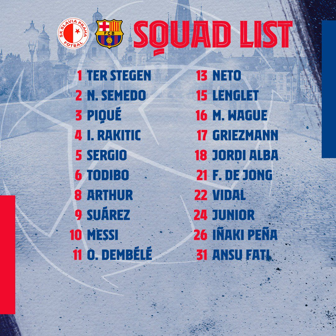 💪🔵🔴 SQUAD LIST for #SlaviaBarça in the @ChampionsLeague!