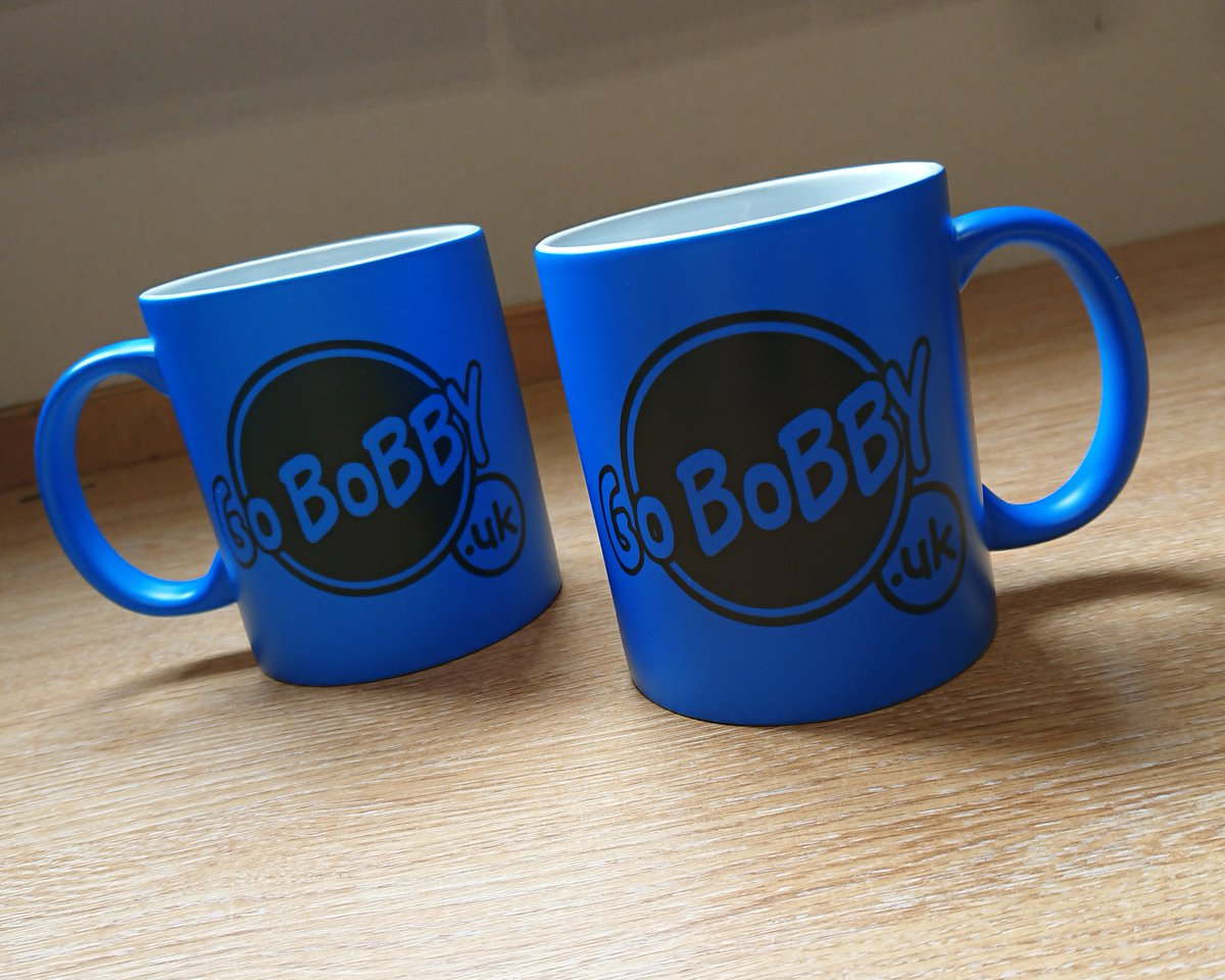 Printed @GoBobbyuk 11oz Matt Neon Blue Mugs by Wizard Embroidery 📞 01788 833020 📧 wizardembroidery@hotmail.com #printedmugs #mugprinting #blue #neon #neonmugs #florescent #standout #brandawareness #wizardembroidery #smallbusiness #rugby #coventry #smcov #covhour #gobobbyuk