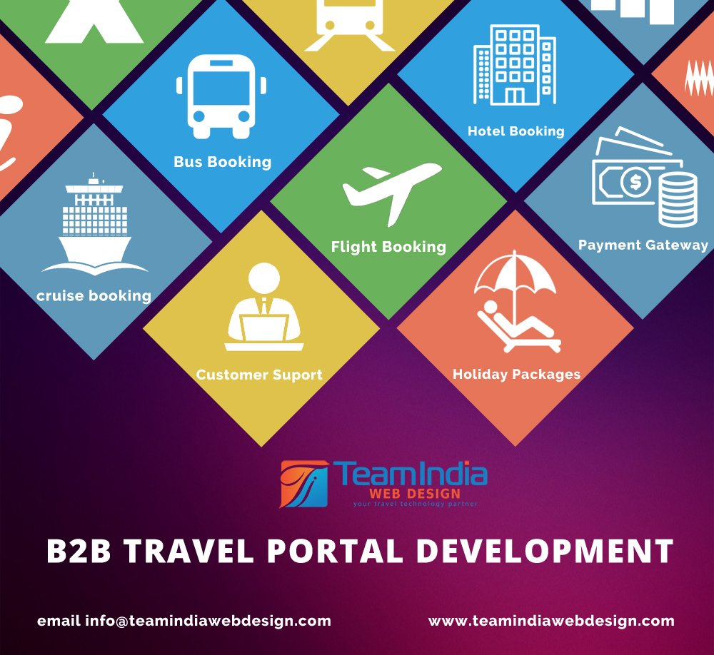 B2B Travel Portal development-Teamindia Webdesign  B2B travel portal is usually an online travel-booking engine for travel agents. It is a system giving end-users to booking flights, hotels booking.   https://www. teamindiawebdesign.com/travel-b2b-por tal  … <br>http://pic.twitter.com/9kKcn2fA1D