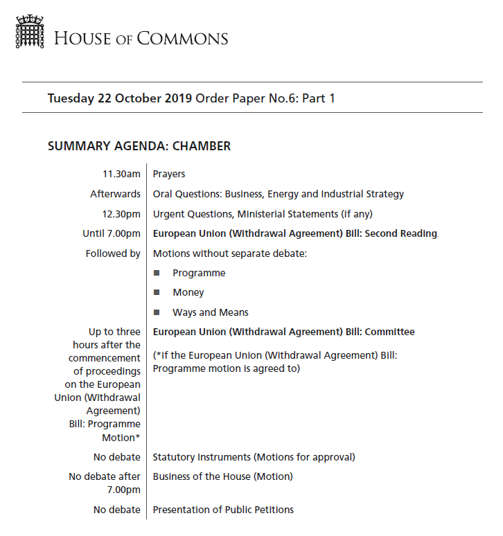Today the House of Commons begins to debate the European Union (Withdrawal Agreement) Bill.  More details of today's business in the #OrderPaper:  https:// publications.parliament.uk/pa/cm201920/cm agenda/OP191022.pdf  …   The European Union (Withdrawal Agreement) Bill:  https:// services.parliament.uk/Bills/2019-20/ europeanunionwithdrawalagreement.html  … <br>http://pic.twitter.com/savye8kdnl