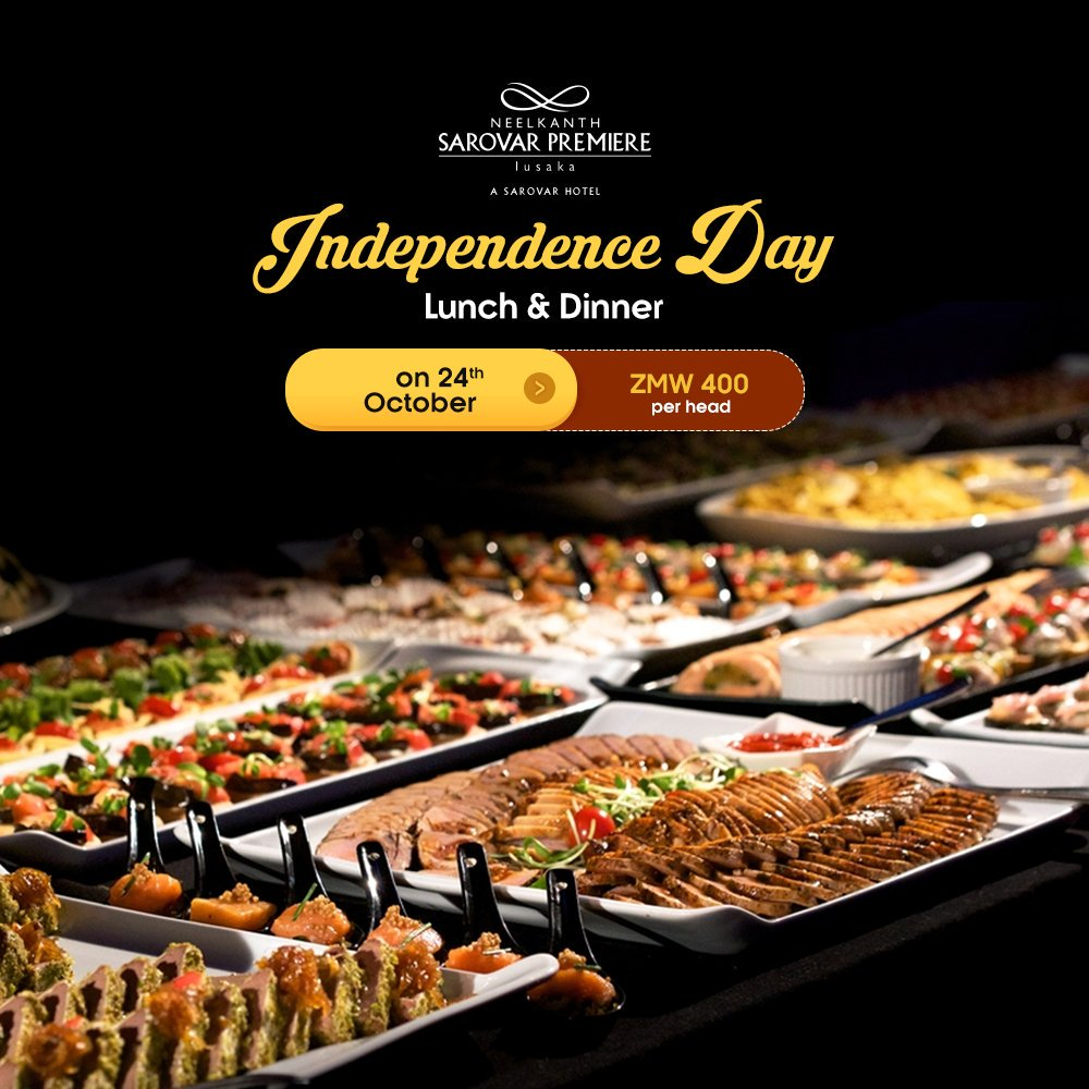 Celebrate freedom with the flavours of #Zambia. The #CopperPot #Restaurant is going to offer a lip-smacking #Zambian Buffet, this #IndependenceDay on the 24th of October 2019 at just ZMW400 per head. #NSPL #Lusaka #HotelInZambia #TopHotel #SarovarHotels #NeelkanthSarovarPremiere