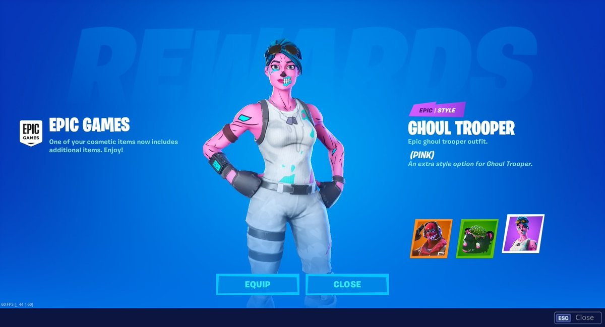 By the way, logged into Fortnite to be met with this screen..  This is the Cotton Candy Ghoul Trooper in game: <br>http://pic.twitter.com/1MwY7mu7IF