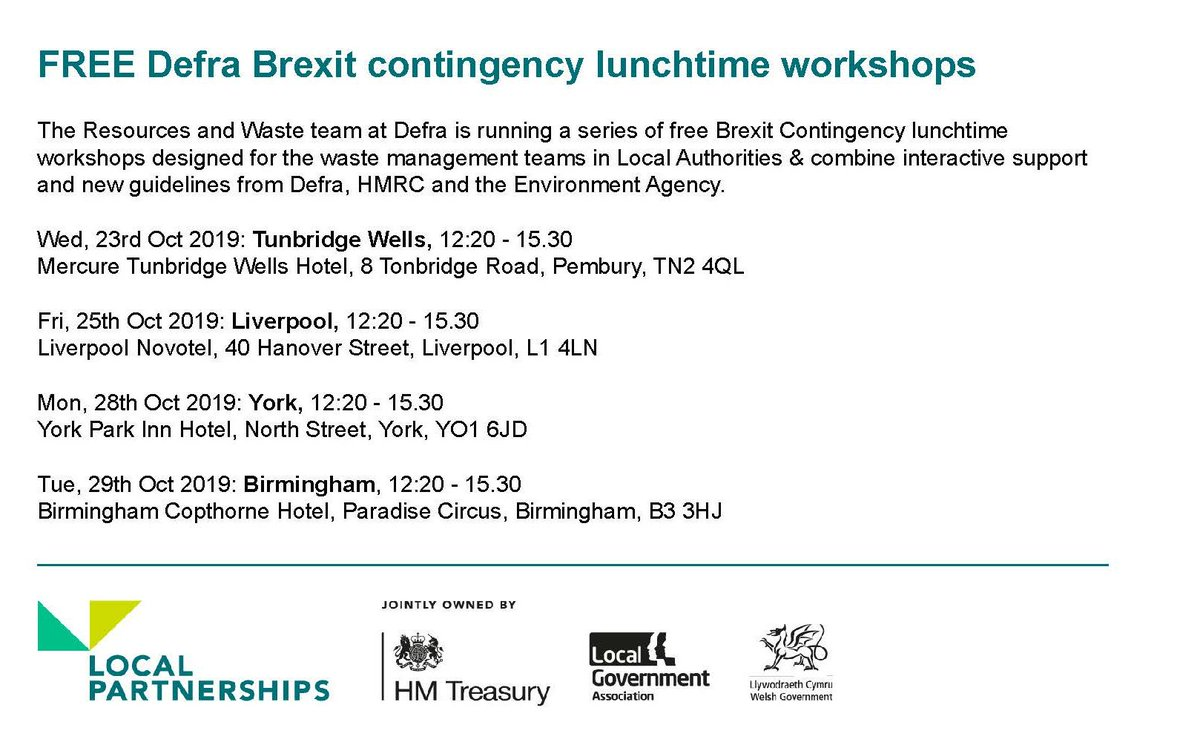 What action does your organisation need to prepare leaving the EU?  Resources & Waste team at @DefraGovUK is running free Brexit Contingency lunchtime workshops for everyone in waste industry to meet & hear from gov. advisers & policy makers.  #Bexit #Resource #WasteManagement