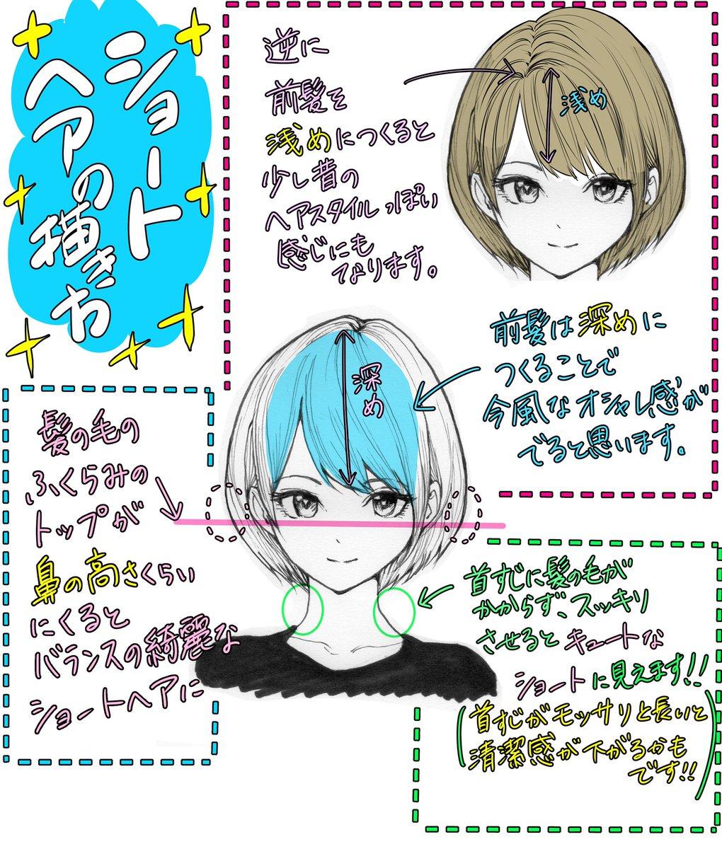 【ショートヘアの描き方】前髪のバランスとシルエットが✨上達しやすいプチコツ講座✨