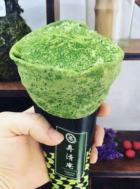 東京都浅草駅近くにある抹茶クレープ専門店「寿清庵」の、とろとろのマスカルポーネクリームが沢山のった「抹茶ティラミスクレープ」✨