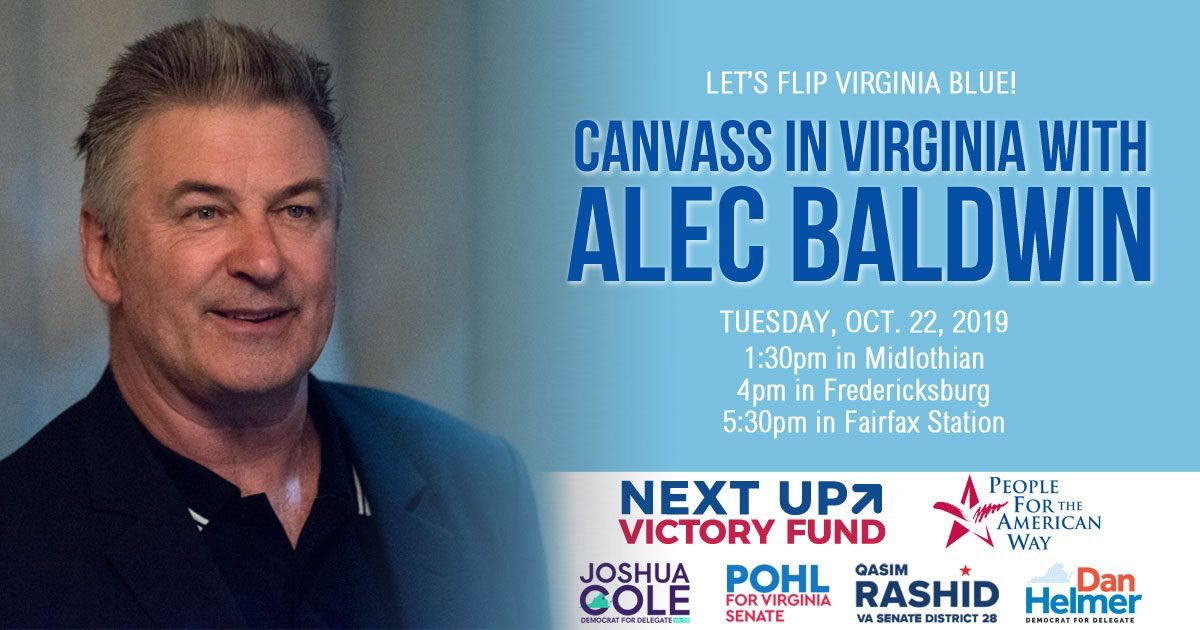 Join us and @AlecBaldwin in Virginia today to canvass for progressive candidates who are going to #FlipVaBlue!! #NextUpVA Find a location near you: facebook.com/events/4035742…