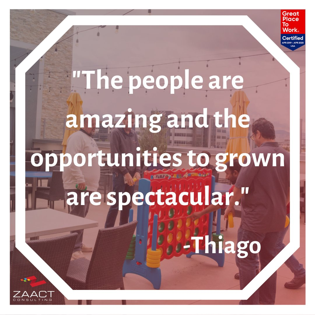 Thiago is such and incredible asset to ZAACT! He truly exemplifies our company culture and we are so grateful that he is a part of it. If you're interested in being of our awesome team visit  http:// ow.ly/ufav50wQN9e    ! #GPTWcertified #MicrosoftGoldPartner #Utah #Zaact<br>http://pic.twitter.com/CzRfC8LQH7