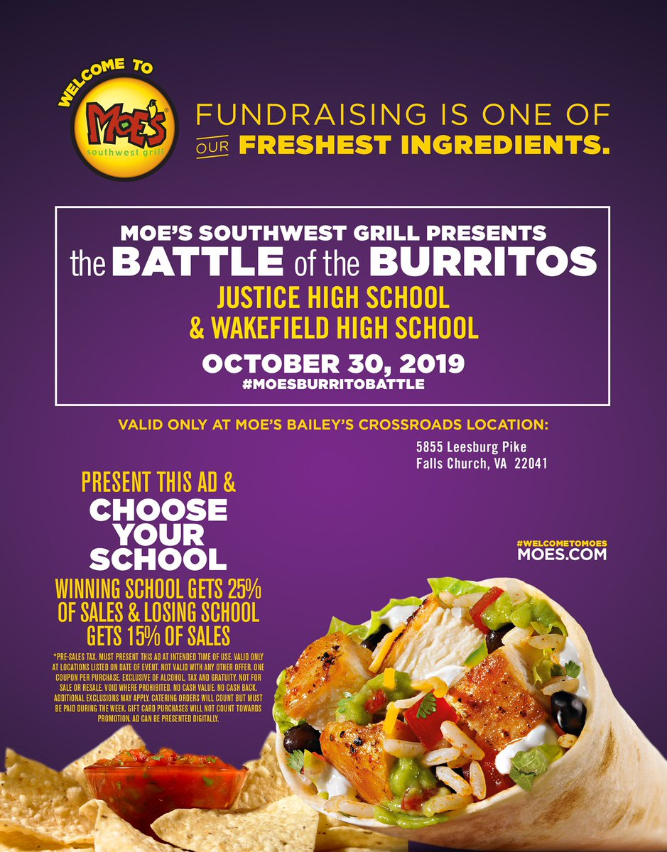 This is gonna be FUN!! Well, maybe more yummy than FUN!! Battle of the Burritos btwn <a target='_blank' href='http://twitter.com/WarriorGridiron'>@WarriorGridiron</a> n <a target='_blank' href='http://twitter.com/JusticeWolvesFB'>@JusticeWolvesFB</a> October 30 at Moe's - This is a Fundraiser for both football programs <a target='_blank' href='http://twitter.com/wakefieldchief'>@wakefieldchief</a> <a target='_blank' href='http://twitter.com/WarriorCheerfam'>@WarriorCheerfam</a> <a target='_blank' href='http://twitter.com/whssuperfans'>@whssuperfans</a> <a target='_blank' href='http://twitter.com/WHSHappenings'>@WHSHappenings</a> <a target='_blank' href='http://twitter.com/WakefieldBoost1'>@WakefieldBoost1</a> <a target='_blank' href='http://twitter.com/wakeatc1'>@wakeatc1</a> <a target='_blank' href='https://t.co/Ftt1lZnAfP'>https://t.co/Ftt1lZnAfP</a>