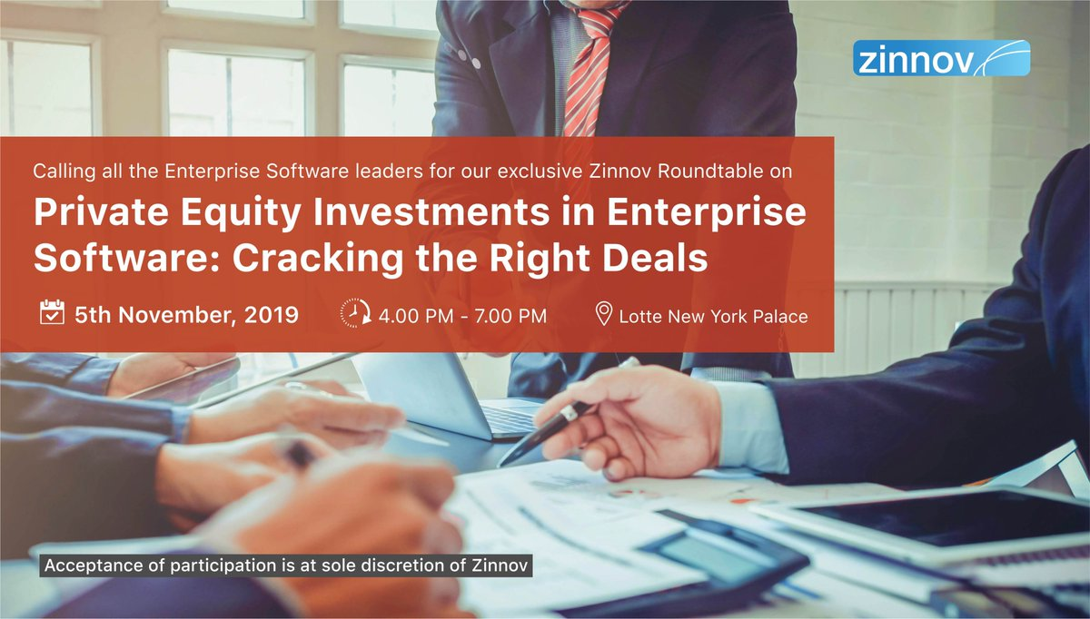 #EnterpriseSoftware firms need to understand the who's who of the #PE world to identify the right #strategicpartner and prepare themselves for evaluation. To get more insights, attend our exclusive #ZinnovRoundtable on #PrivateEquity in New York. Register http://bit.ly/2OUrYOC