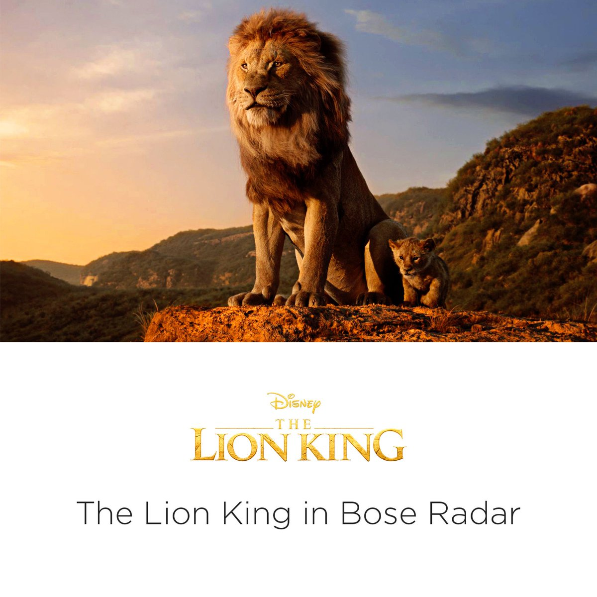 Experience the magic of Disney's Circle of Life & Hakuna Matata in immersive, 360-sound. The Lion King in Bose Radar, out now. bose.life/2ONqGFp The Lion King is available on Digital & Blu-ray™. Soundtrack available now. © 2019 Disney