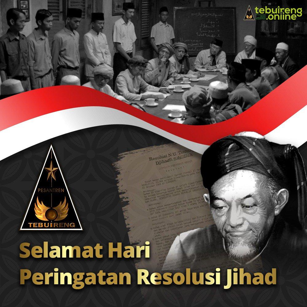 Mari, di antara banyak seremonial Hari Santri kita kembali ke esensi  Selamat Hari Peringatan Resolusi Jihad Hadratussyaikh KH. H. Hasyim Asy'ari dan seluruh kaum santri, umat Islam, dan bangsa Indonesia untuk mempertahankan RI. #resolusijihad #khhasyimasyari #tebuireng #santri