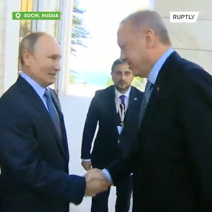 "#Russia is about to carve up #Syria. Watch an almost giddy #Putin welcome #Erdogan to Moscow today. He does that hand hug thing, putting his other hand on their very warm handshake, and says what I think is ""you bring good weather."" They chuckle."